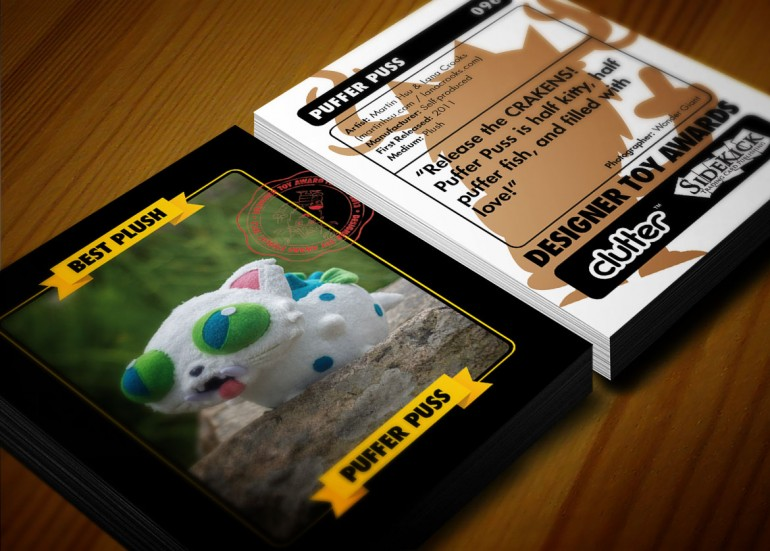 Mockup of the Puffer Puss trading card.